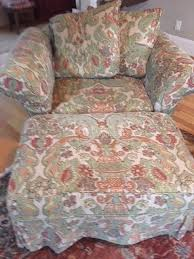 pottery barn charleston chair and a half ottoman slipcover simone print