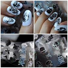 Nail Art Skull Design Us 1 02 10 Off Blueness 1 Roll 4 100cm Charms 10 Different Skull Design Nails Art Tin Foil Transfer Stickers Manicure Uv Gel Decals Diy Jh510 In