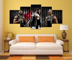 5 pcs miami heat player team sport modern home wall decor on cleveland sports teams wall art with nba sports canvas store
