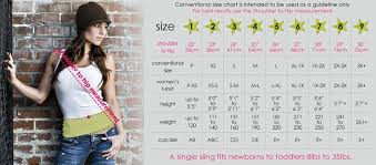 Seven Everyday Slings Sizing Chart Free Baby Stuff