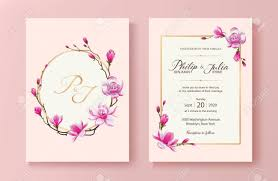 Beautiful Pink Floral Wedding Invitation Card Vector Magnolia