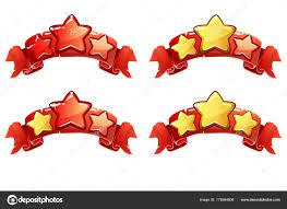 完全なベクトル レベル ランキング バナーの星と赤いリボン ストック