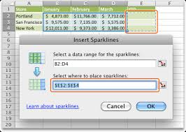 Spark Charts Excel Create Sparklines Excel For Mac
