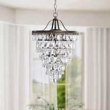 Otis Designs Lighting Fixtures Copper Grove Sabine Conical 4 Light Antique Brass Crystal