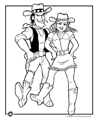 Cowboy And Cowgirl Dancing Coloring Page Woo Jr Kids Activities