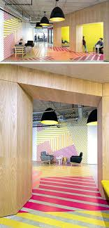 colorful office space interior design. Glamorous Interior Design Idea This Colorful Bold Pattern Wraps Around From The Wall To Floor Office Space E