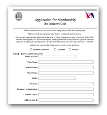 organization membership form template the explorers club about application form