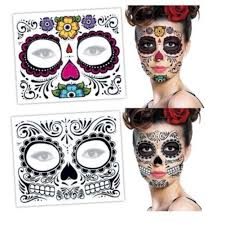Mask Designs Full Face Us 0 31 45 Off Temporary Tattoo Mask Costume Sugar Skull Cool Design Full Face Party Masks Zombie Day Of The Dead 1pc In Party Masks From Home