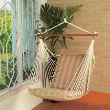 polyester hammock hanging swing chair tan stripe
