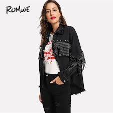 black studs and fringe detail jacket womens jackets and coats casual autumn plain 2018 clothing single ted outerwear cotton jacket leather jacket with