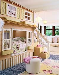 Natural Wooden Cabinet Girls Bedroom Ideas With Bunk Beds Grey Rug White  Seat And Ceiling Can