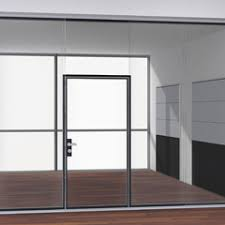 office corridor door glass. The Glass Hinged Door Gives Maximum Transparency With Characteristic Contouring Extending From Floor Profile Beyond Frame. Office Corridor M