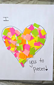 I Love You Crafts I Love You To Pieces Heart Craft For Kids Valentine Card Idea