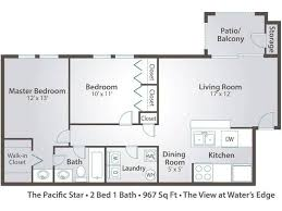 2d the pacific star contains 2 bedrooms and 1 bathrooms in 967 square feet of