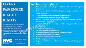 Nyc Taxi Limousine Commission Livery Passengers Bill Of Rights