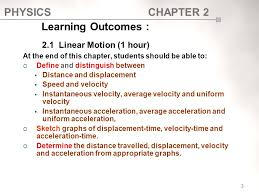 learning outcomes 2 1 linear motion 1 hour