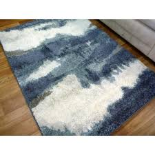 20mm thick modern soft feel tundra waves blue floor area rugs