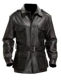 sputer britania military styled vintage mens black pu faux trench coat blazer leather jacket