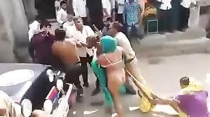 Naked women street fight