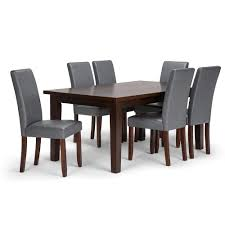 acadian 7 piece stone grey dining set