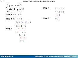y x 1 4x y 6 6 2 solve the system by substitution
