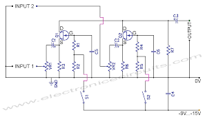 fet audio mixer and switch circuit diagram electronic circuits fet audio mixer and switch circuit diagram