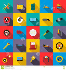 Yellow Car Paint Chart Car Service Icons Set Flat Style Stock Vector