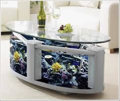 Furniture:Gorgeous Living Room With Black Leather Sofa And Clear Aquarium  Coffee Table On Black