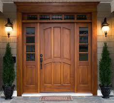 doors amusing solid wood front door wood door designs photos with sidelight and greenery on