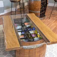 wine barrel bottle storage coffee table