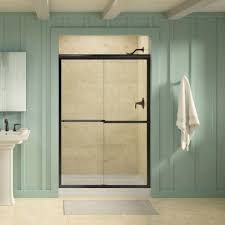 Shower Door clean shower door photographs : KOHLER Gradient 47-5/8 in. x 70-1/16 in. Sliding Shower Door in ...