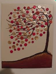 Original Perfect Day abstract tree with buttons acrylic painting on 11x14  canvas mixed media