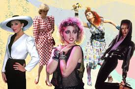 collage of famous women from the 1980s madonna and princess diana cyndi lauper and