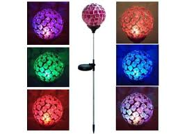 get ations solar power mosaic pink red glass ball multi color color changing led light