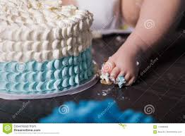 1 Year Old Baby Boy Celebrating His First Birthday Stock Photo