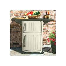 outdoor food prep station brown resin wicker grilling portable cart patio
