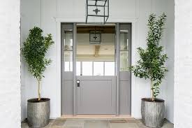 front door with sidelightsRed Front Door with Seamless Glass Frame  Transitional  Entrance