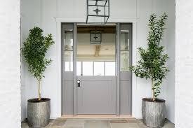 gray dutch door with sidelights