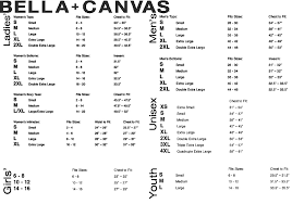 Bella T Shirt Size Chart 12 Conclusive Bella And Canvas Size Chart