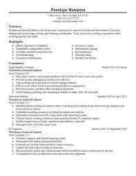 General Labor Resume Sample