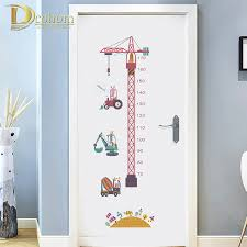 Diy Height Chart Us 4 0 20 Off Cartoon Tower Crane Growth Chart Sticker Animal Height Chart Wall Sticker Nursery Decor Diy Art Poster In Wall Stickers From Home