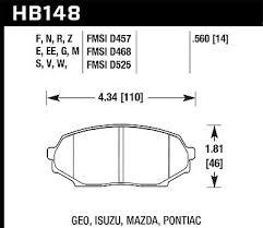 Hawk Performance Street Brake Pads Hb148f 560 Fits Geo