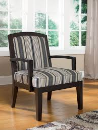 Patterned Living Room Chairs Funiture Grey Fabric Wingback Accent Chair With Cushion And