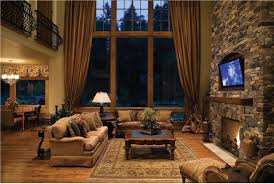 Interior:Rustic Log Cabin Interior Design With Natural Stone Wall Ideas  Nature inspired the rustic
