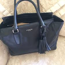 Beautiful Large Coach Black Leather Tote Shopper Shoulder Bag Purse TASSEL