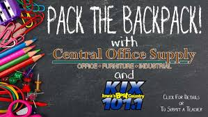 April Pack the Backpack Winner: Trisha Voss   Iowa's Best Country ...
