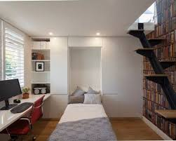 home office guest room. Small Minimalist Built-in Desk Medium Tone Wood Floor Home Office Photo In Sydney With Guest Room P