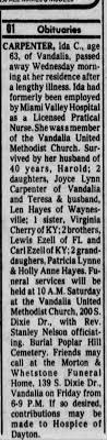 Ida Ezell Carpenter obituary - Newspapers.com