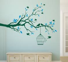 tree branch wall art sticker with bird cage removable vinyl wall decals wall stickers for living room home office decor in wall stickers from home garden  on wooden tree wall art uk with tree branch wall art sticker with bird cage removable vinyl wall