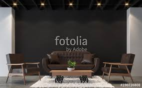 modern loft furniture. Modern Loft Living Room With Black And White 3d Rendering Image.There Are Polished Concrete Furniture D